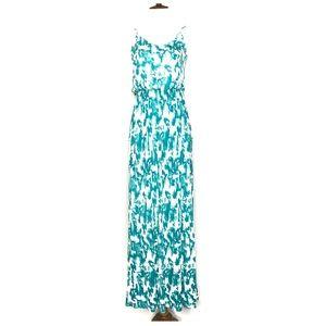 Lush Green White Tie Dye Maxi Dress A030682
